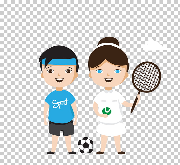 Cartoon Child Sport Illustration, color tennis boy girl PNG.