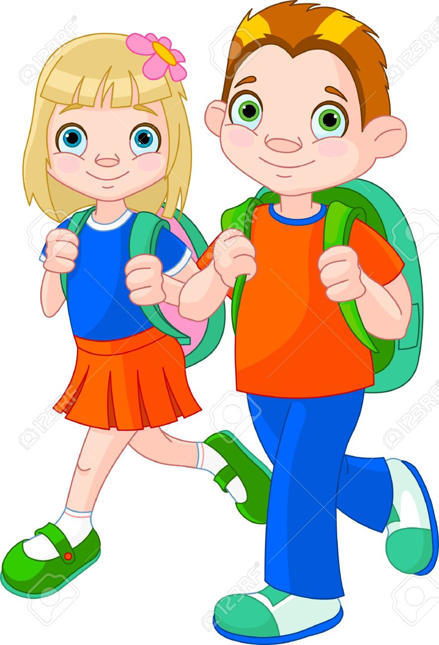 Illustration of girl and boy go to school.