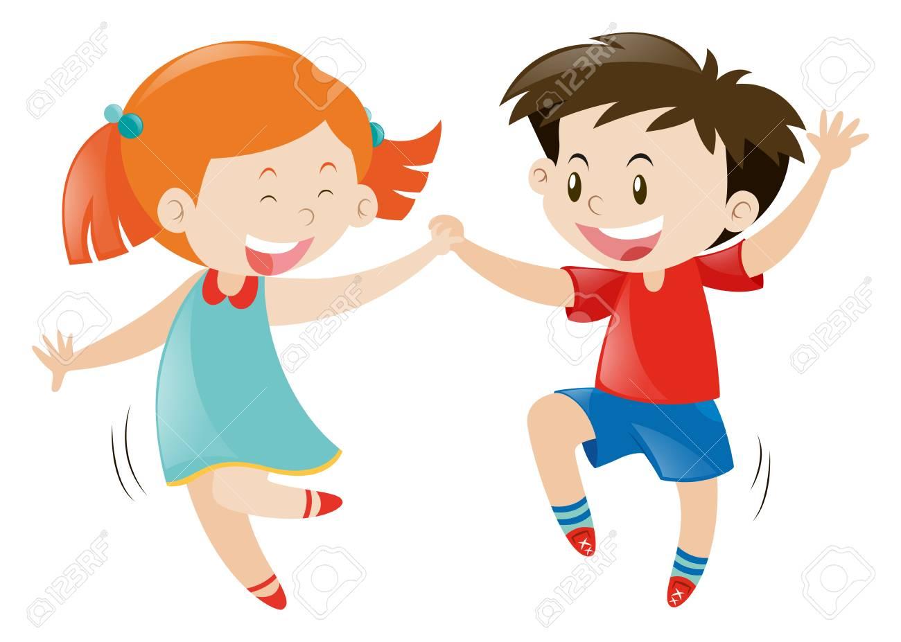 Happy boy and girl dancing illustration.