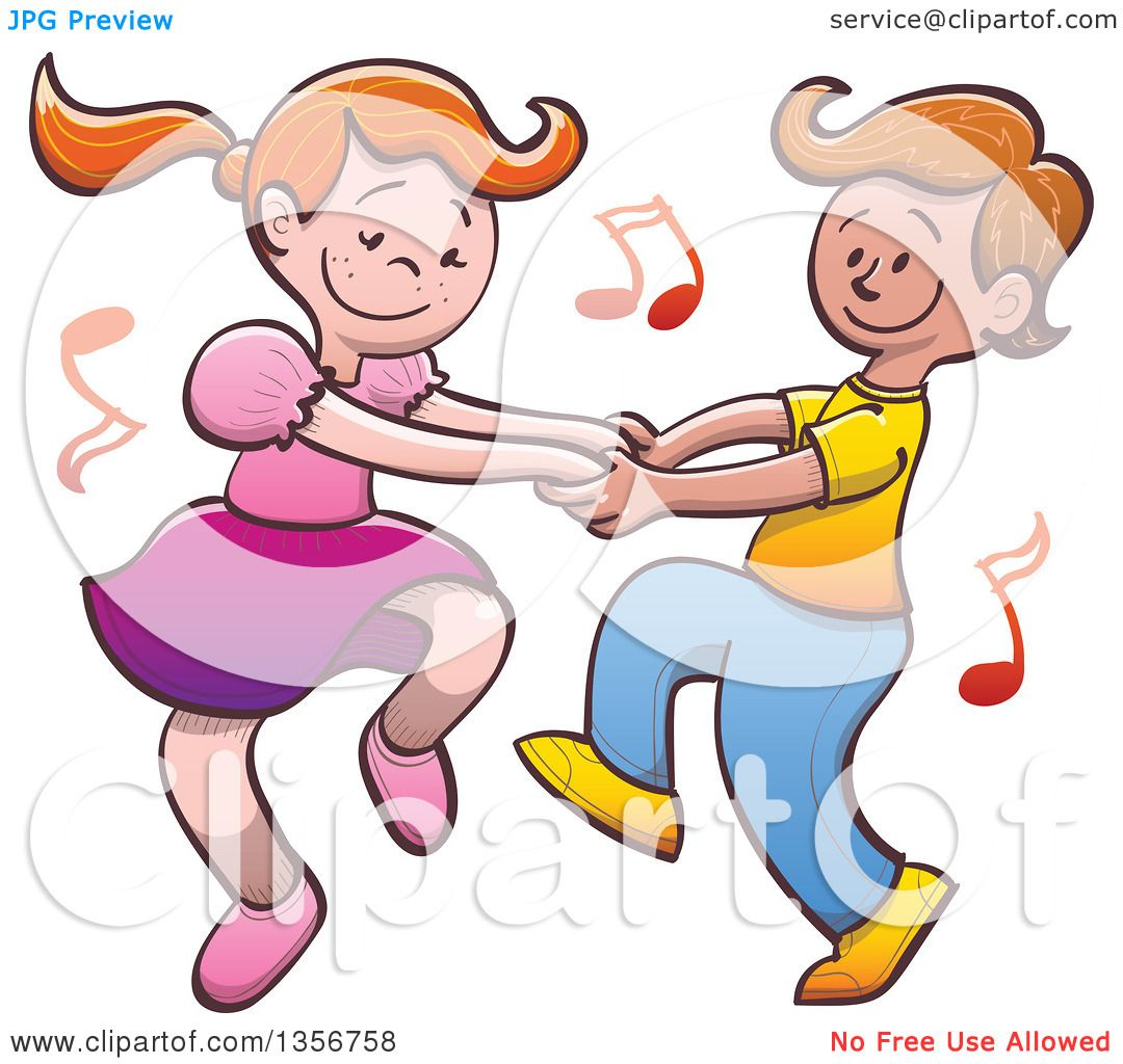 Clipart of a Cartoon Caucasian Boy and Girl Dancing Together, with.