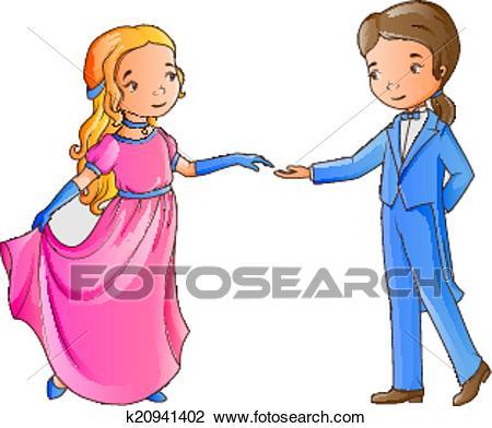 Cartoon boy and girl dancing Clipart.