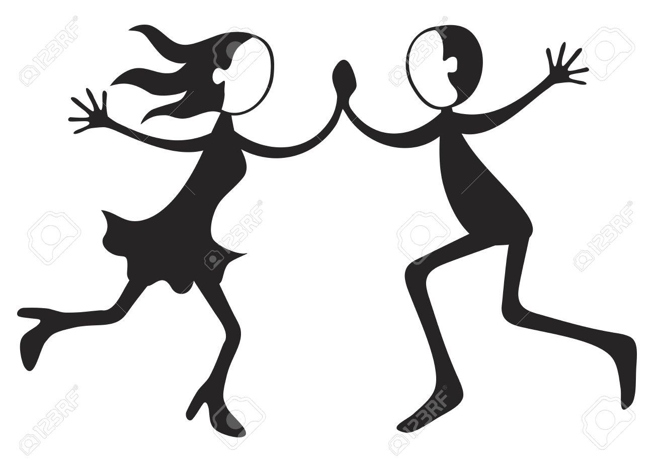 Illustration of boy and girl dancing crazy steps.