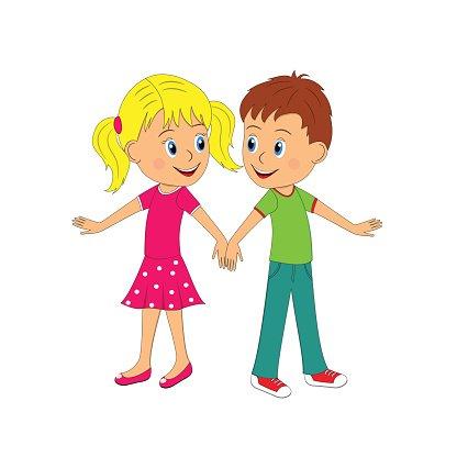 Boy and Girl Dancing premium clipart.