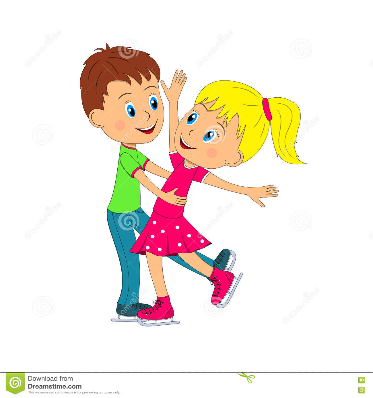 Boy And Girl Dance On The Skating Stock Vector.