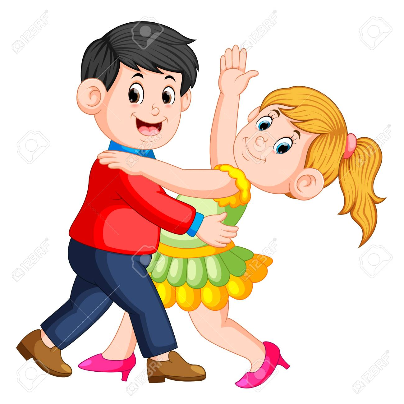 the beautiful girl dancing salsa with her boy and they dancing...