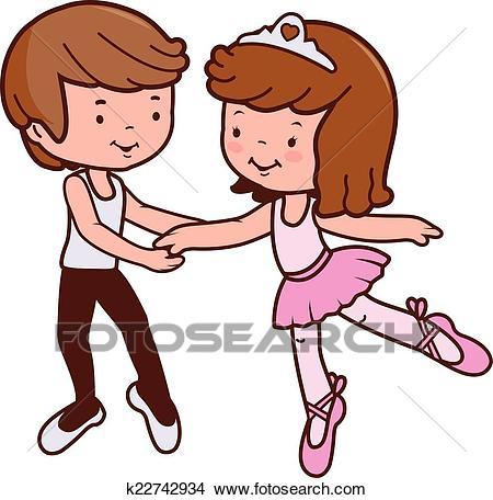 Boy and girl ballet dancers Clipart.