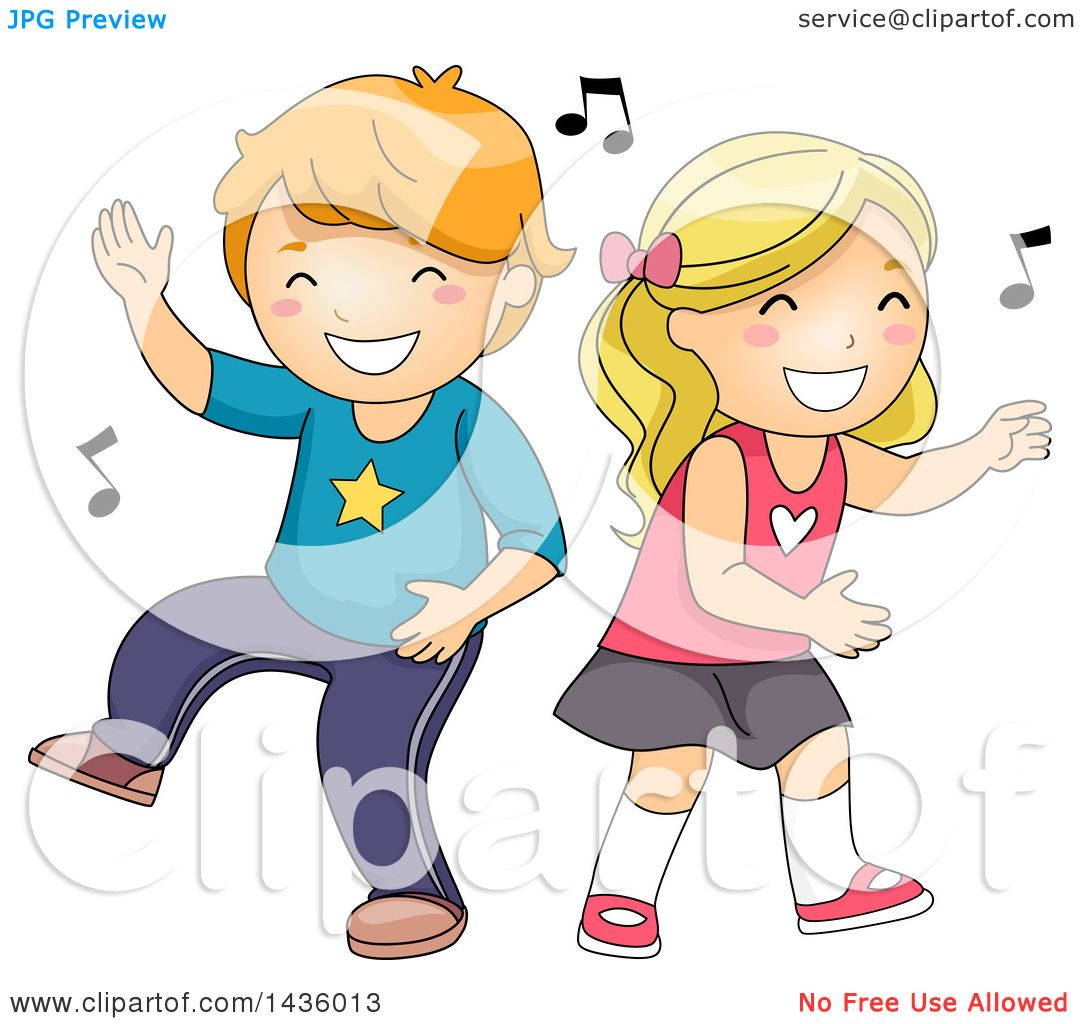 Clipart of a Caucasian Boy and Girl Dancing to Music.