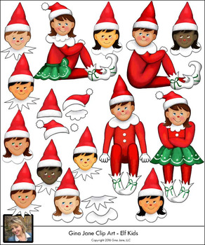 Christmas Elf Boys and Girls Clip Art by Gina Jane.