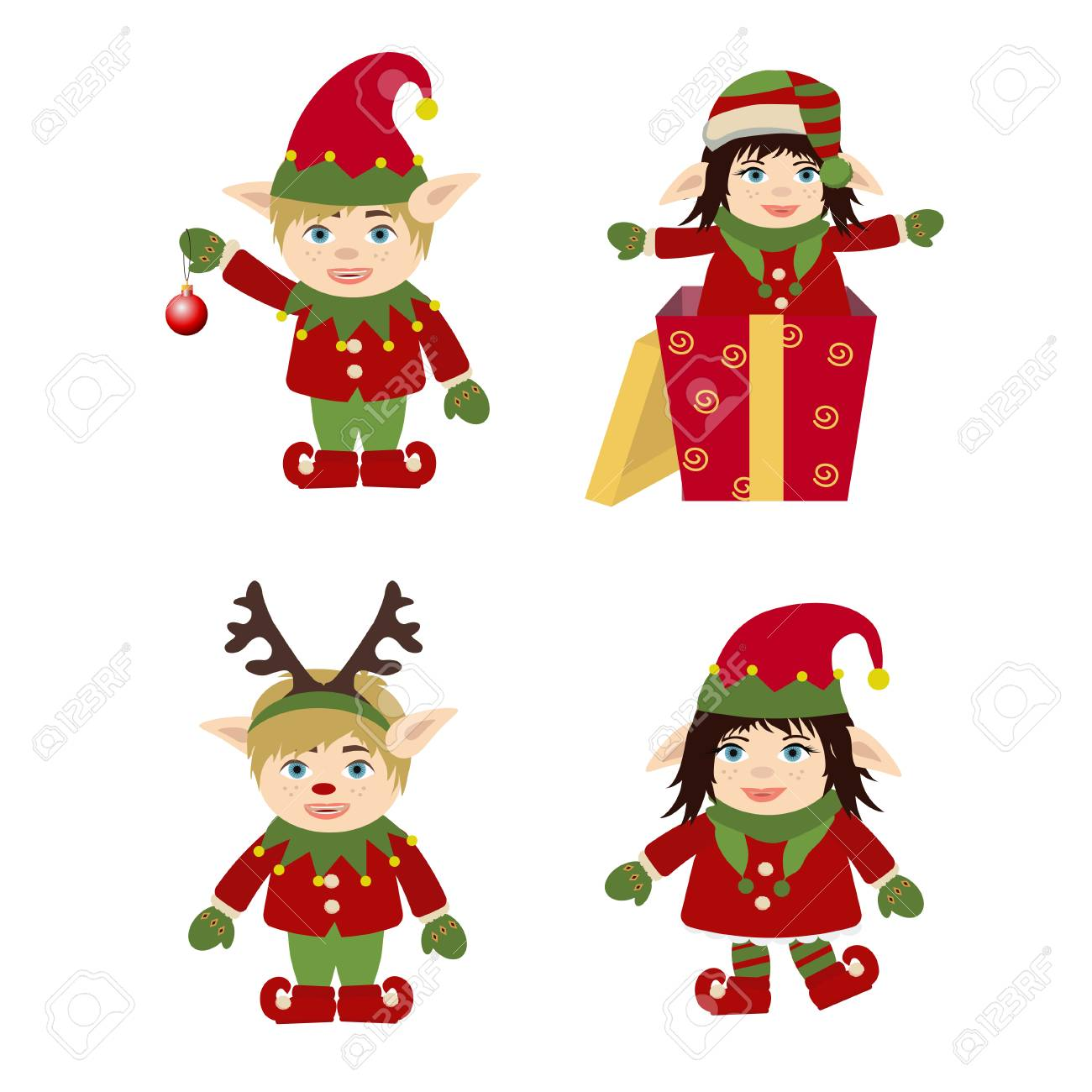 Set of cute and funny character Merry Christmas elf girl and...