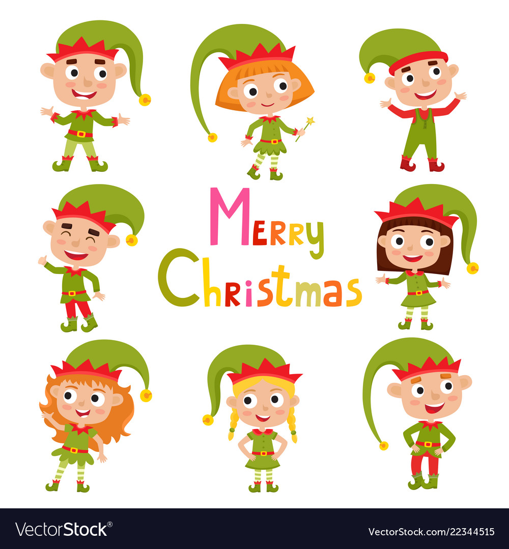Set of cute little christmas girls and boys elf.
