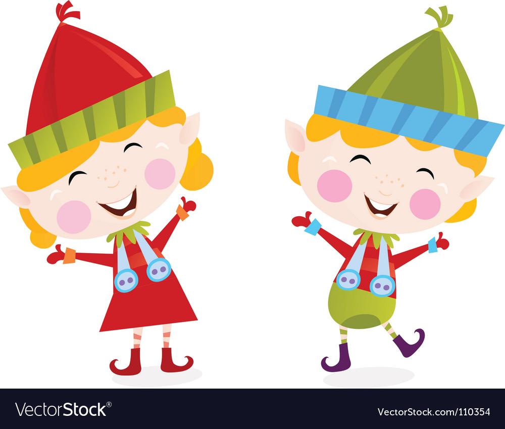 Christmas boy and girl elves.