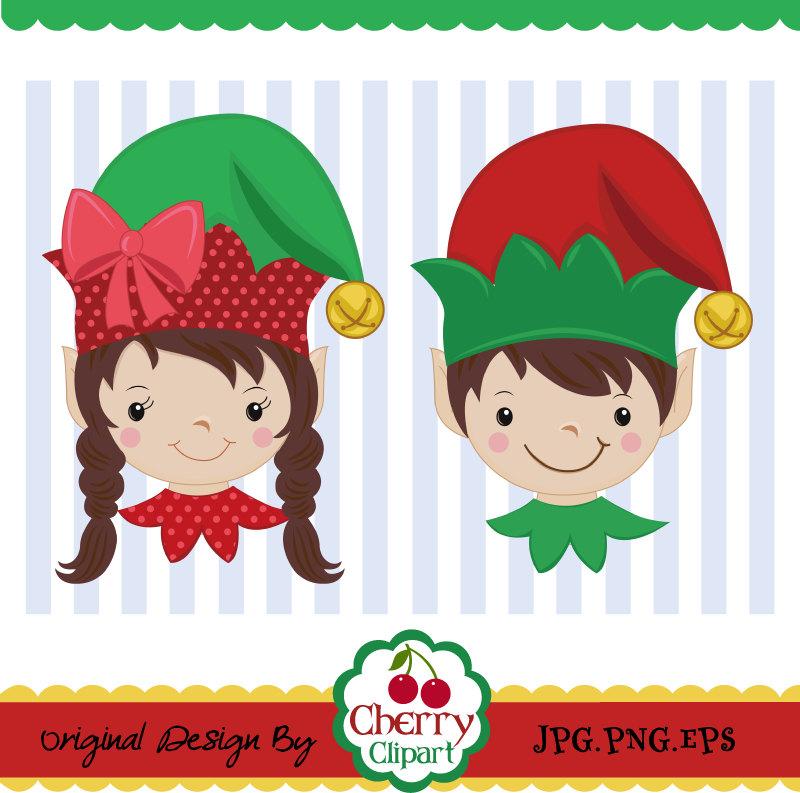 Christmas Elf,Elf boy and girl digital clip art CH0031.