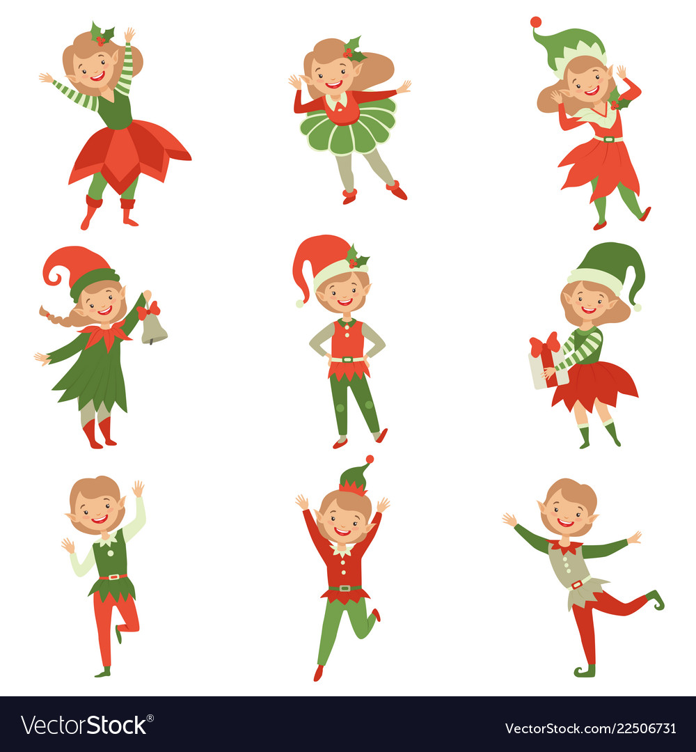 Cute playful boys and girls in elf costumes.