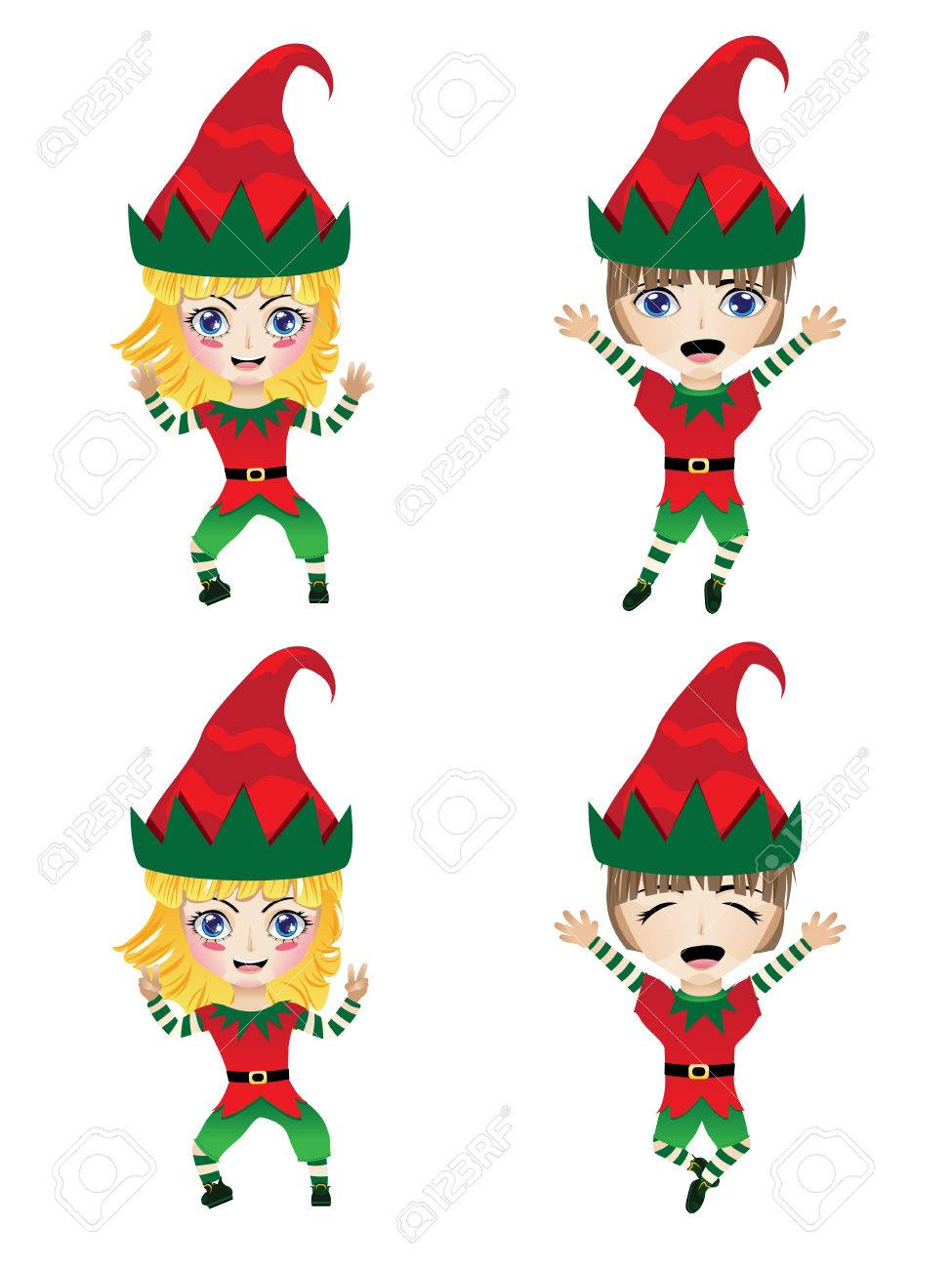Cartoon little girl and boy wearing elf costume for holidays..