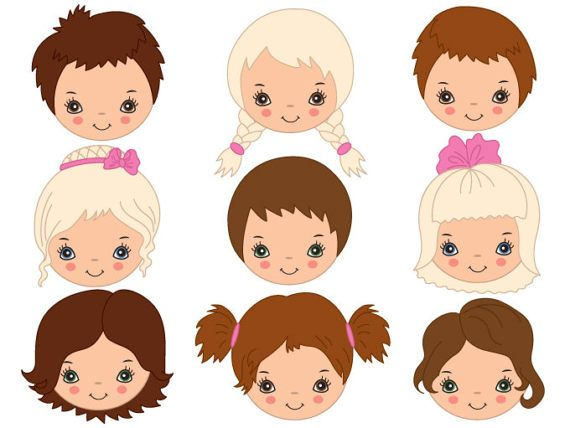 Kids Faces Clipart.