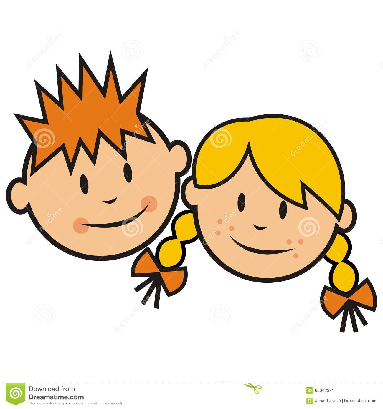 Boy And Girl Faces Clipart.