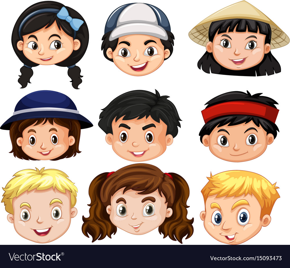 Different faces of boys and girls.