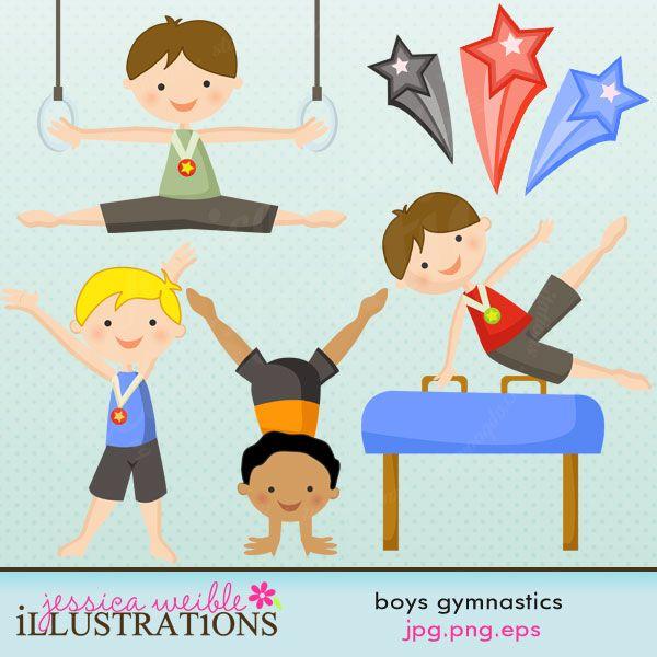 Boy And Girl Gymnastics Clipart.