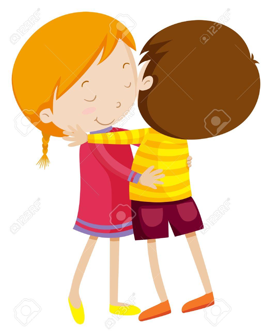Boy and girl hugging illustration.