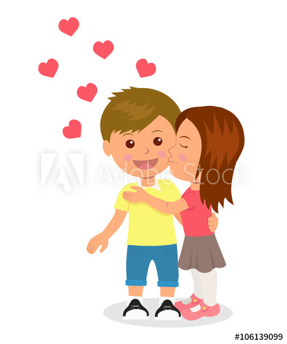 First love. Boy and girl hugging and kissing. Concept design of.