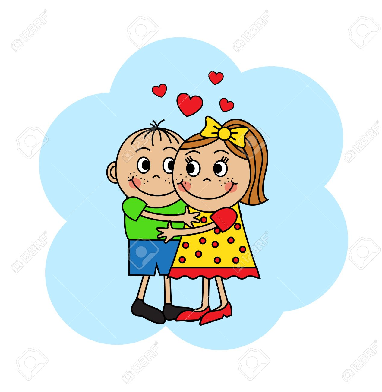 Cartoon couple in love, boy and girl hugging.