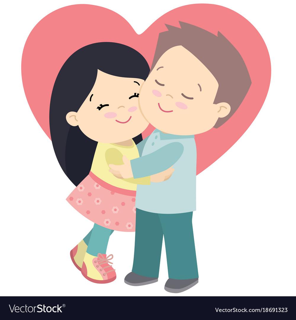 Cartoon Boy And Girl Hugging.