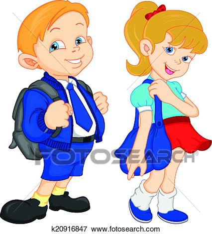 School boy and girl with bag Clip Art.