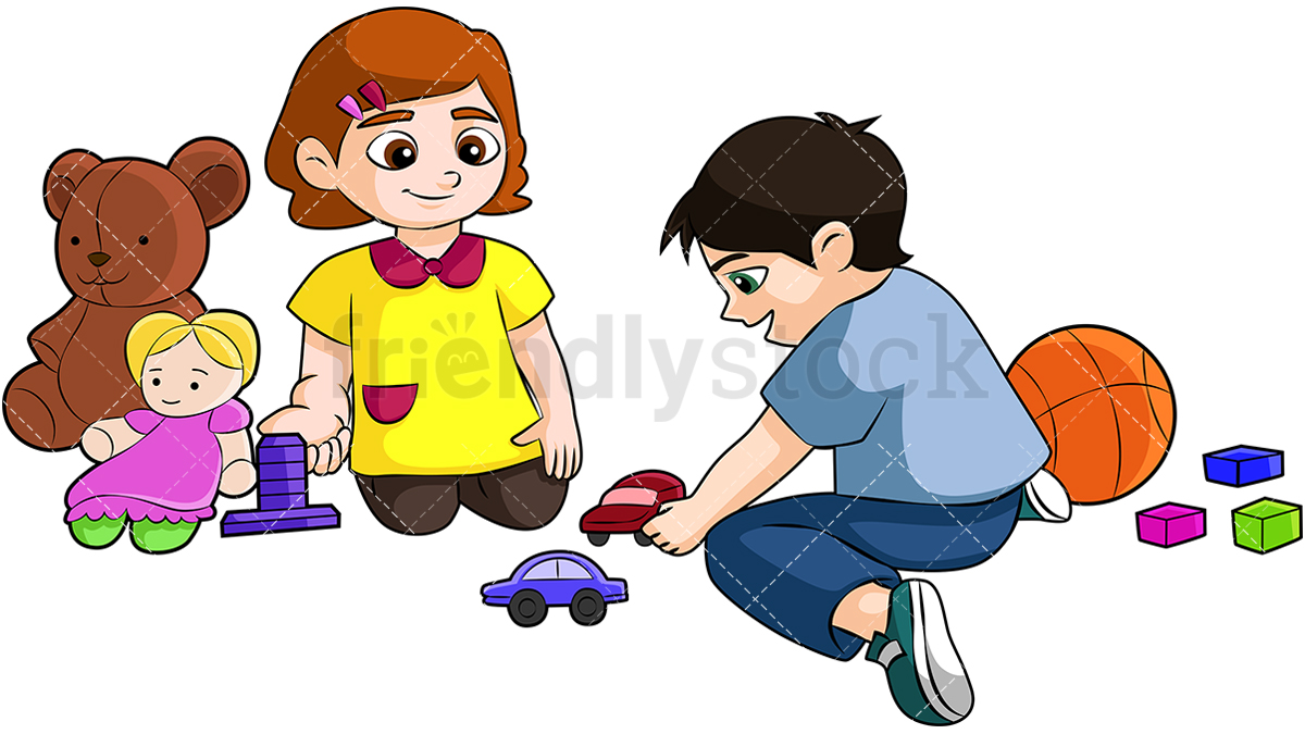 A Little Boy And Girl Sharing Toys And Playing Nicely Together.