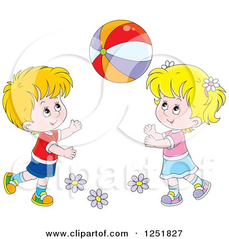 Clipart of a Blond White Boy and Girl Playing with a Ball.