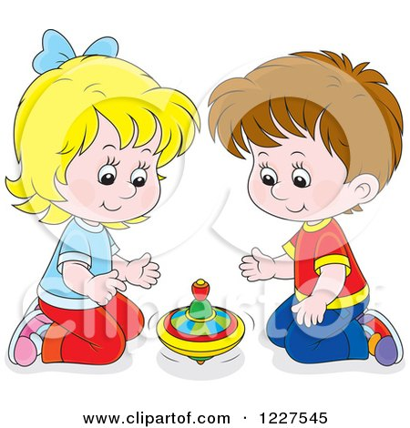 Clipart of a Caucasian Boy and Girl Playing with a Toy Top.