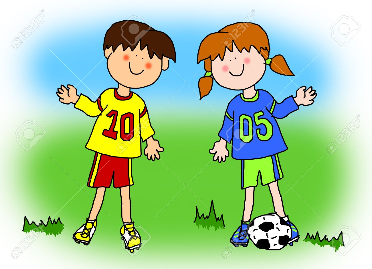Fun boy and girl cartoon outline playing soccer or football in...