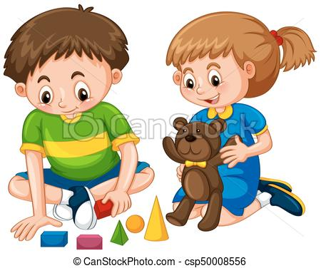 Boy and girl play toys.