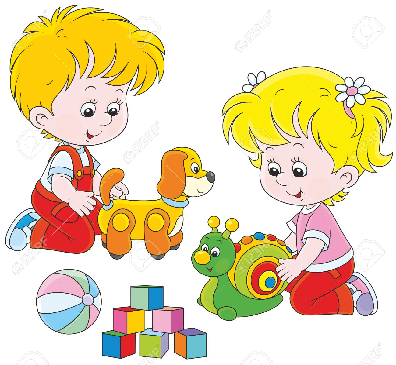 Little girl and boy playing with their toys.