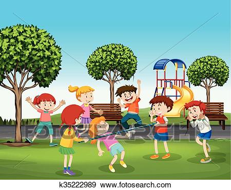 Boys and girls playing in the park Clip Art.