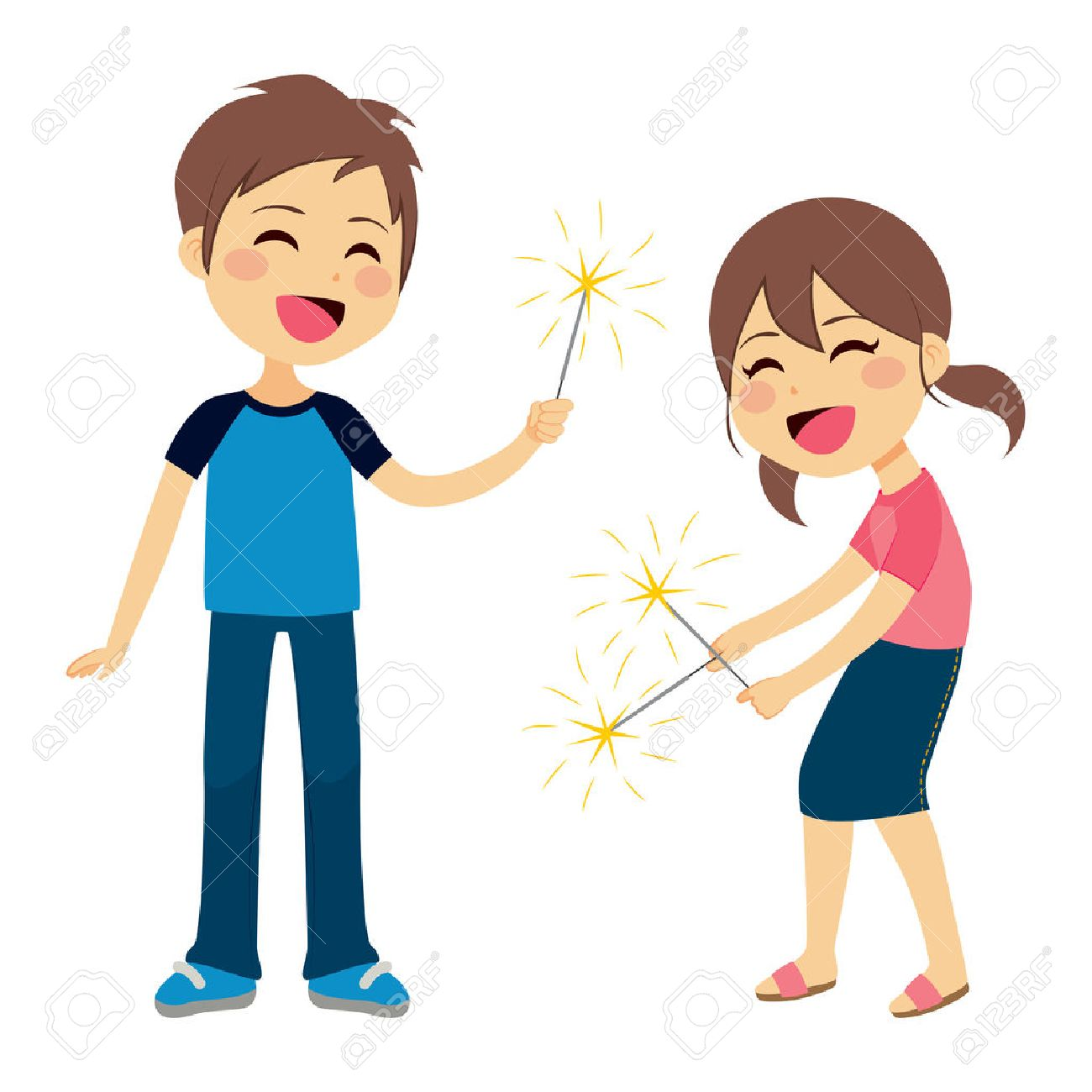 Cute children boy and girl playing with sparkler fireworks.