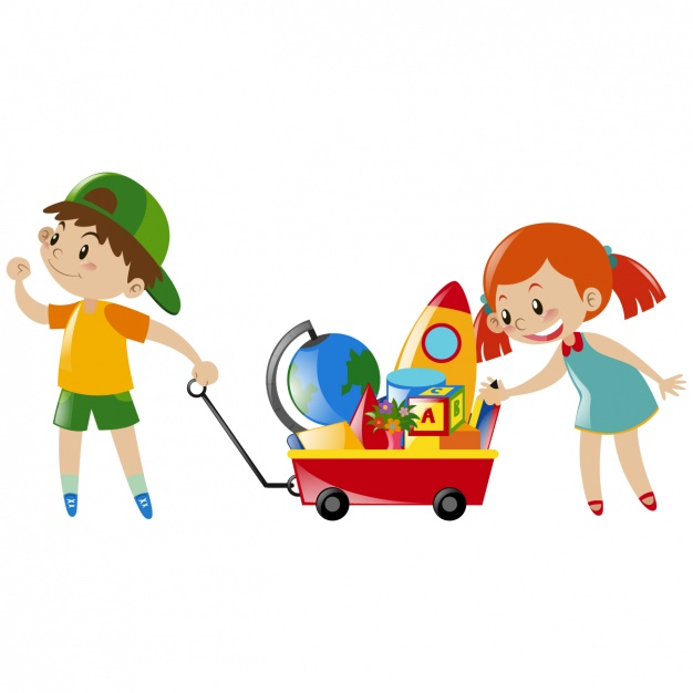 Boy and girl playing with toys Vector.