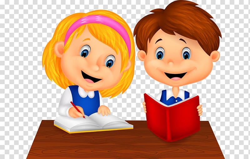 Boy and girl illustration, Cartoon Study skills Illustration.