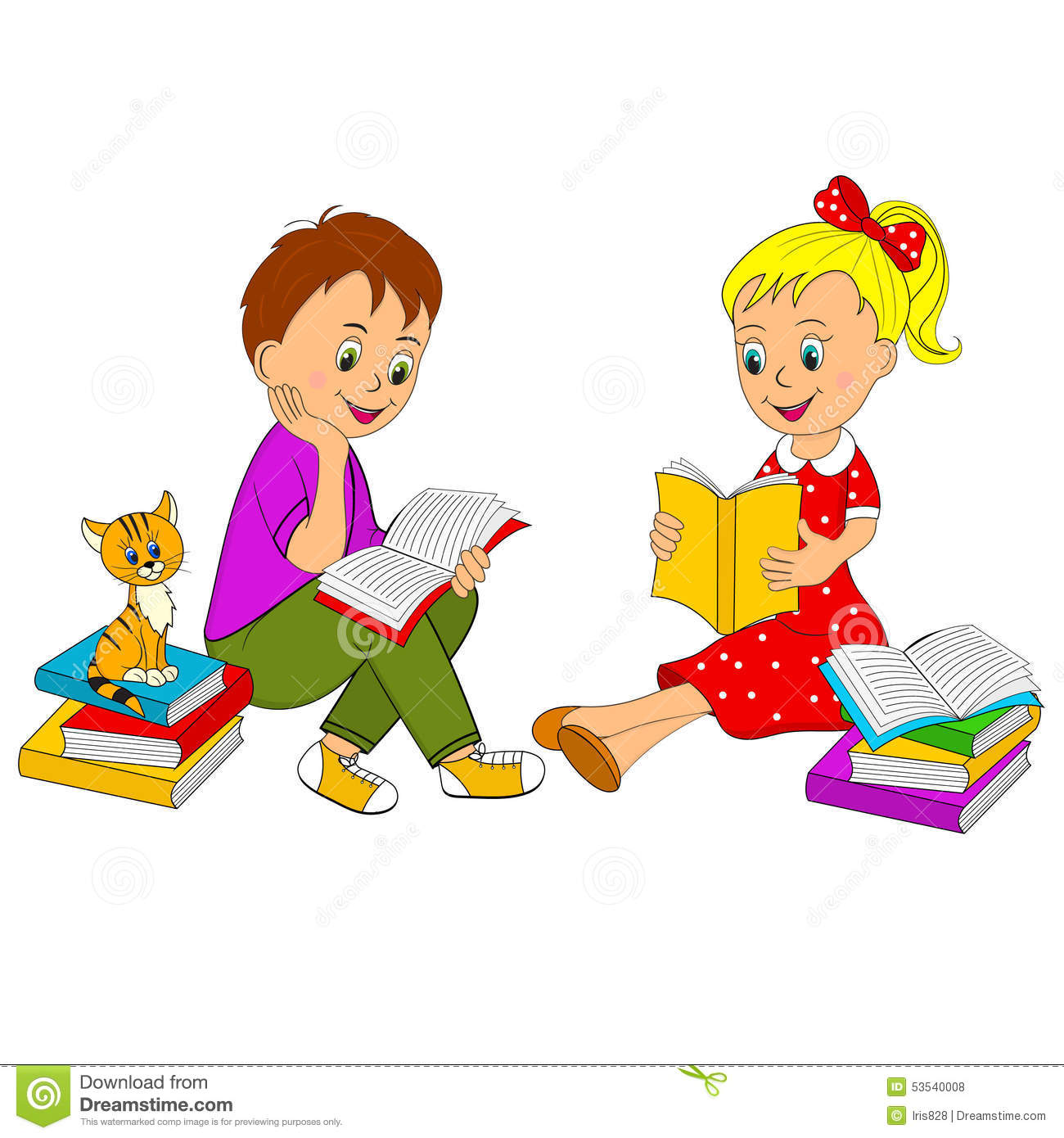 Boy And Girl Reading Book Clipart.