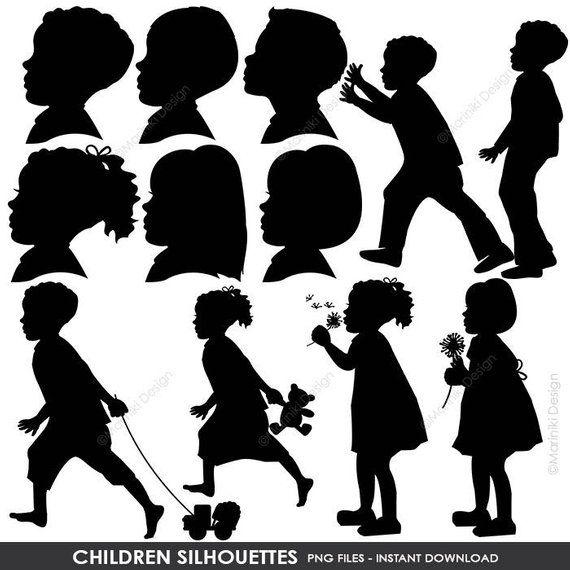 Children Silhouettes Clipart, Children Clip Art, Boy Silhouettes.