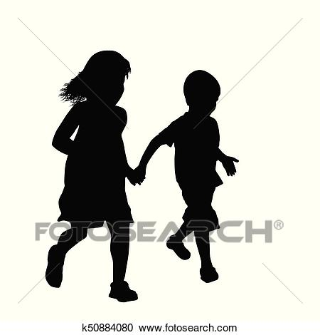 Little boy and girl silhouette running together Clipart.