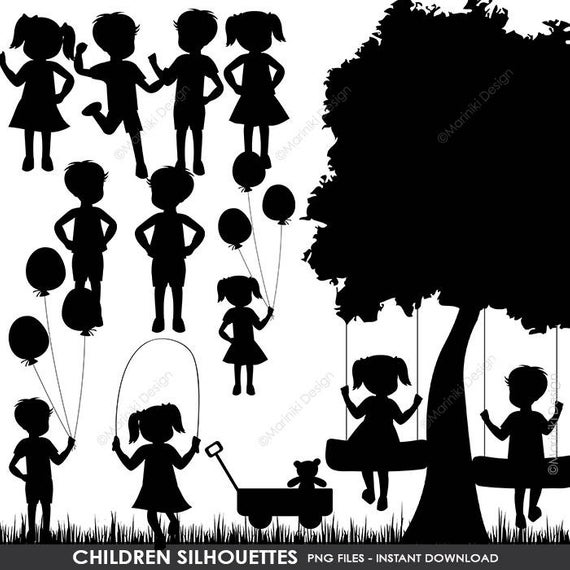 Children Silhouettes Clipart, Children Clip Art, Boy Silhouettes Girl  Silhouettes for Scrapbook, Craft INSTANT DOWNLOAD CLIPARTS C40.