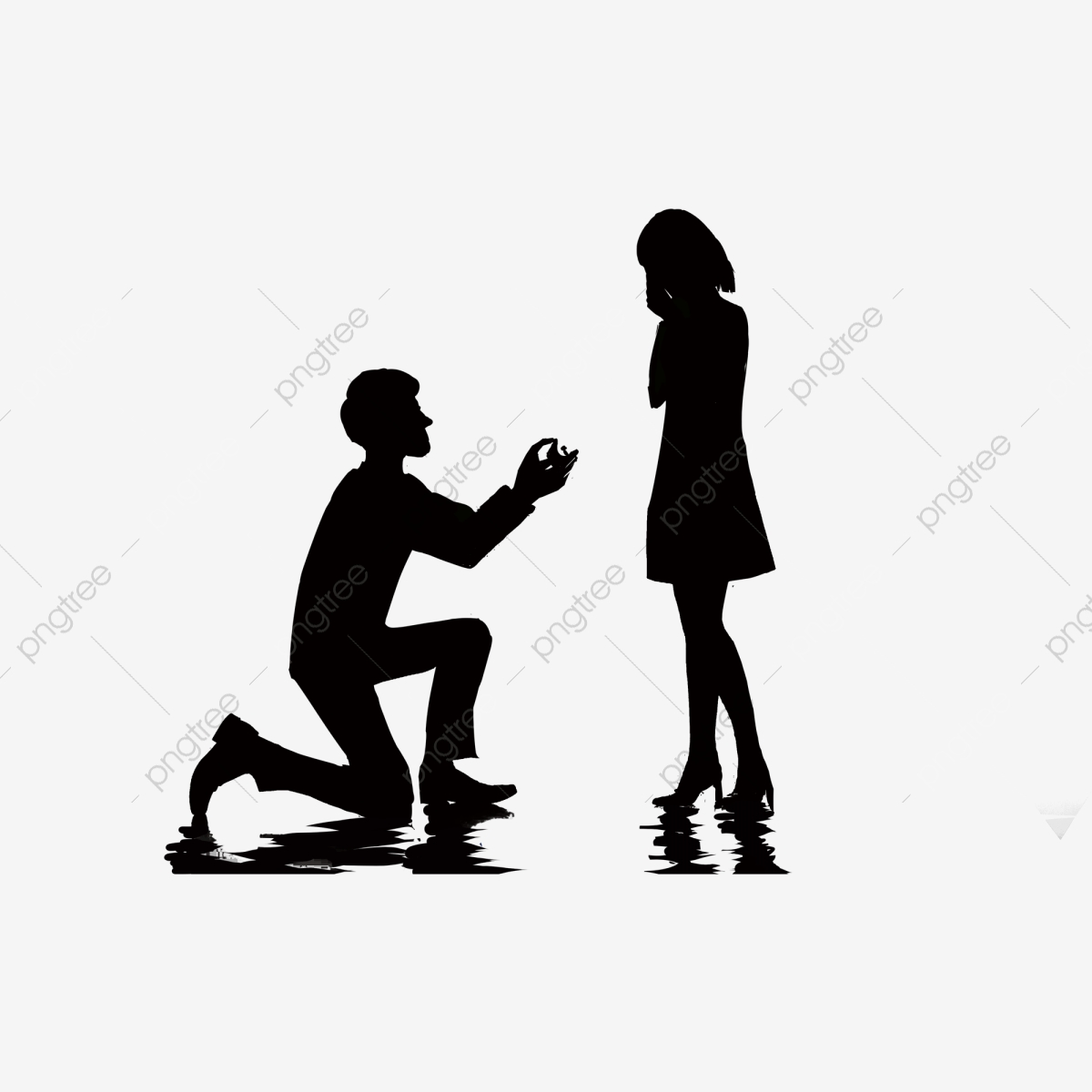 Boy Slyly Proposes To Girl Silhouette Cartoon Element, Boy.