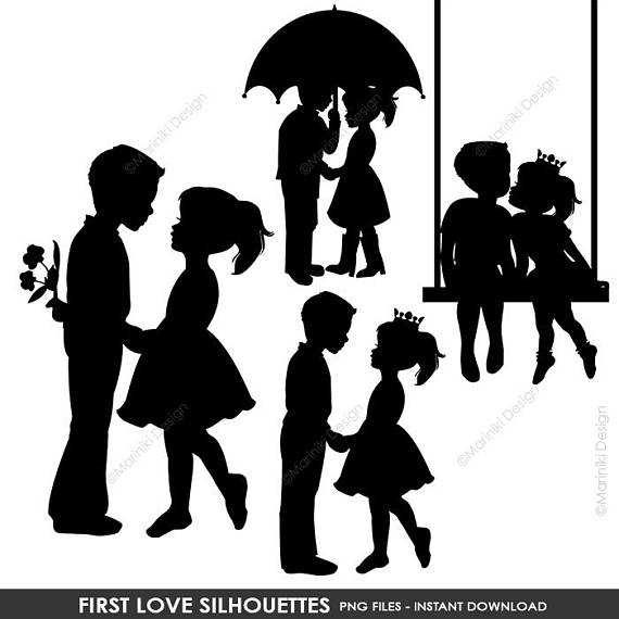 Child Silhouettes, Silhouettes Clipart, Boy Silhouettes, Girl.
