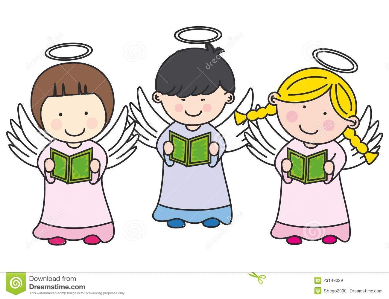 Boy And Girl Angels Singing Clipart.