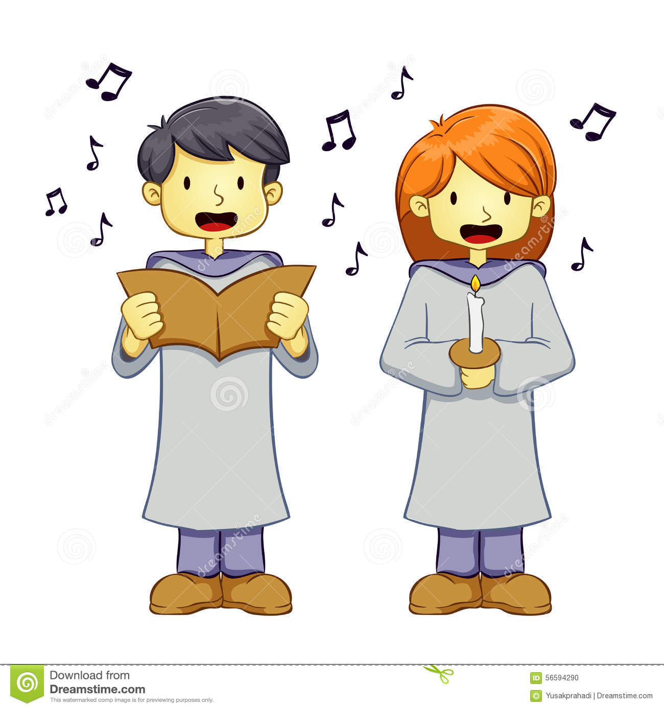 Boy And Girl Singing Clipart.