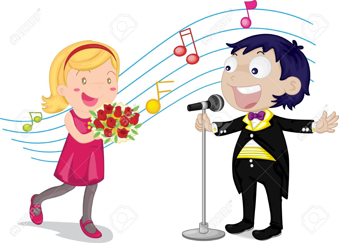boy and girl singing clipart clipground