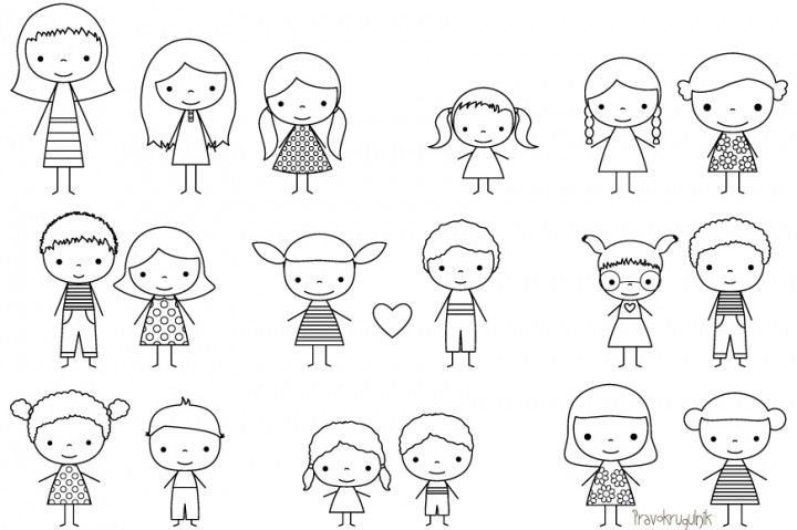 Children stick figure digital stamp, Cute boy and girl stick.