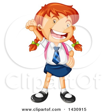 Clipart of a Caucasian School Boy and Girl Sitting at a Desk with.