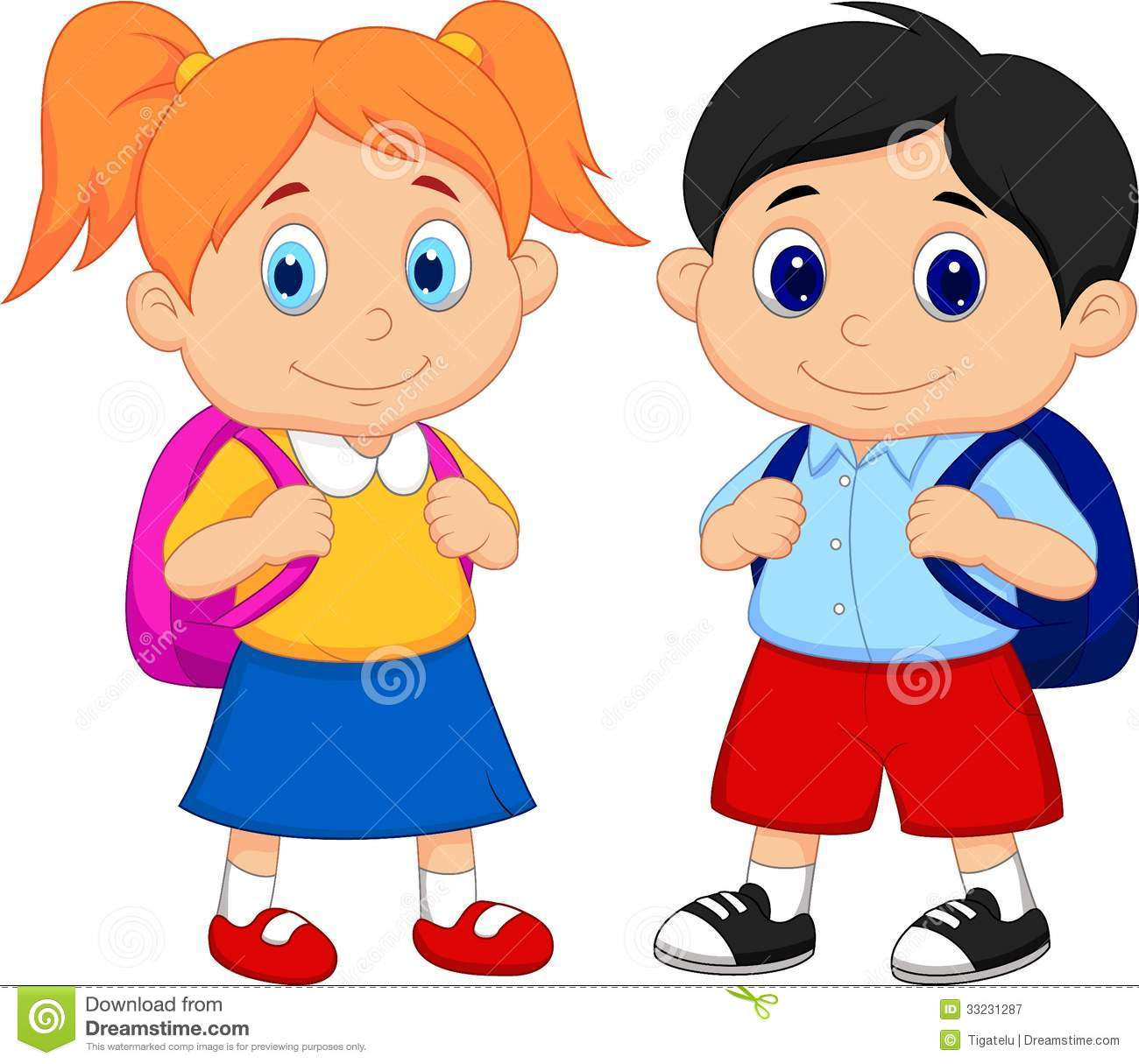 Cartoon Boy And Girl With Backpacks Royalty Free Stock Photography.