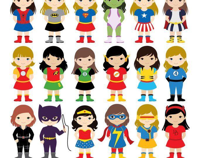36 Kids Superhero Costumes Clipart, Superheroes Kids Clipart.